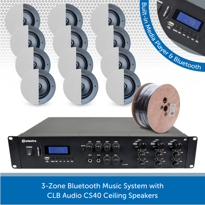3-Zone Bluetooth Music System with CLB Audio CS40 Ceiling Speakers