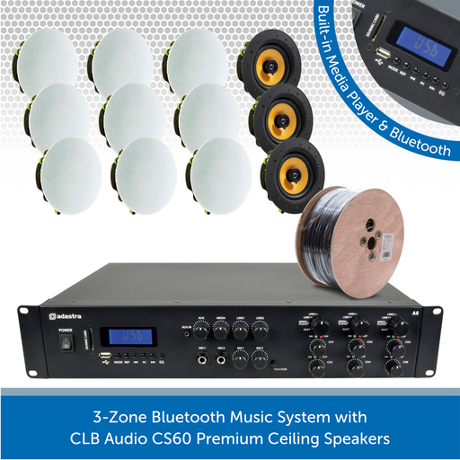 3-Zone Bluetooth Music System with CLB Audio CS60 Premium Ceiling Speakers