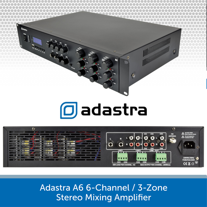 Adastra A6 6-Channel / 3-Zone Stereo Mixing Amplifier