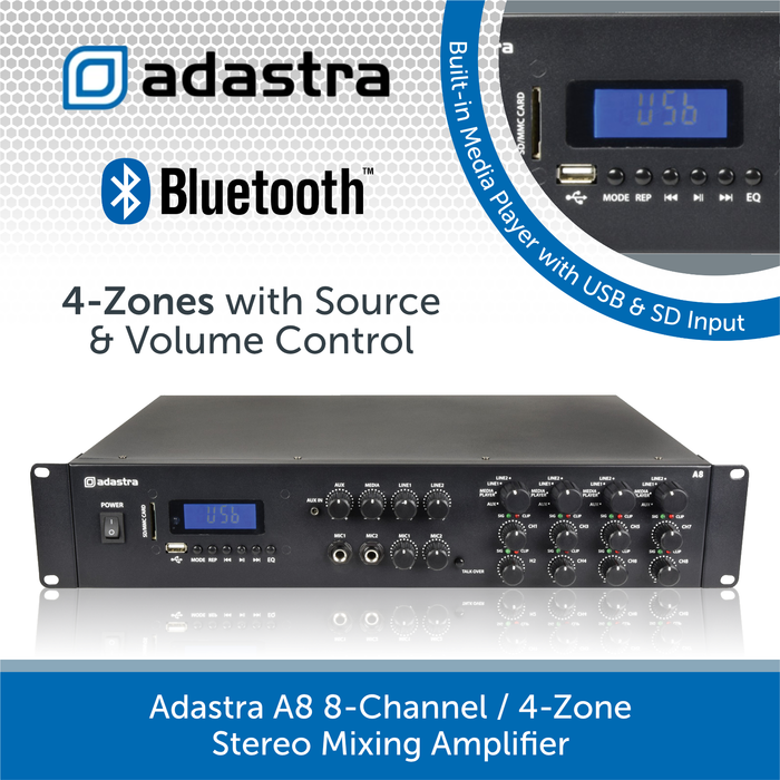 Adastra A8 8-Channel / 4-Zone Stereo Mixing Amplifier