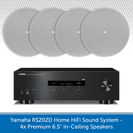 "Yamaha R-S202D Home HiFi Sound System with 6.5"" In-Ceiling Speakers"