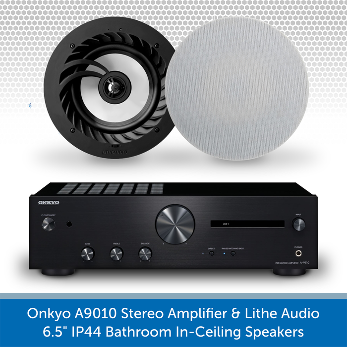 "Onkyo A9010 Stereo Amplifier + Pair of Lithe Audio 6.5"" Bathroom Ceiling Speakers"