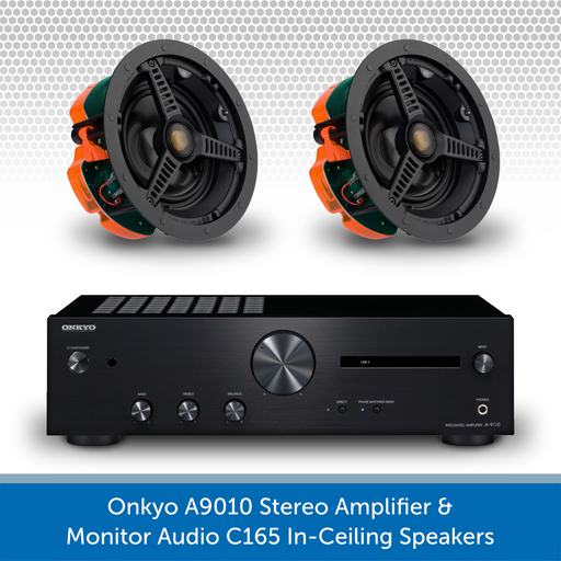 Onkyo A9010 Stereo Amplifier + Pair of Monitor Audio Core C165 In-Ceiling Speakers
