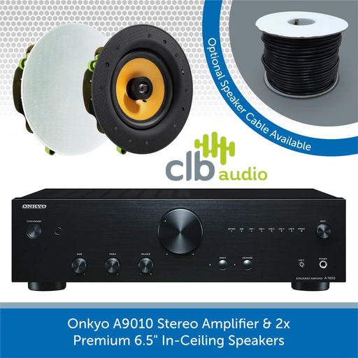 "Onkyo A9010 Stereo Amplifier + Pair of Premium 6.5"" In-Ceiling Speakers"
