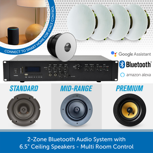 "2-Zone Bluetooth Audio System with 6.5"" Ceiling Speakers - Multi Room Control"