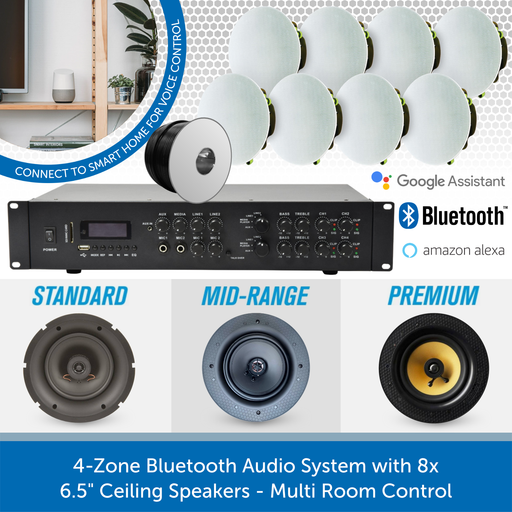 "4-Zone Bluetooth Audio System with 8 x 6.5"" Ceiling Speakers - Multi Room Control"