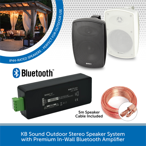KB Sound Outdoor Stereo Speaker System with Premium In-Wall Bluetooth Amplifier