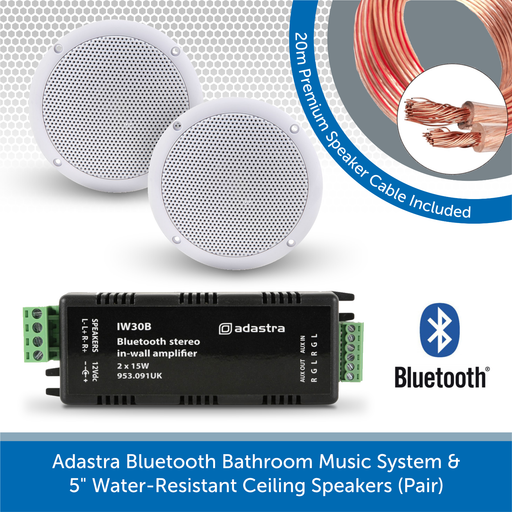 "Adastra Bluetooth Bathroom Music System + 5"" Water-Resistant Ceiling Speakers (Pair)"