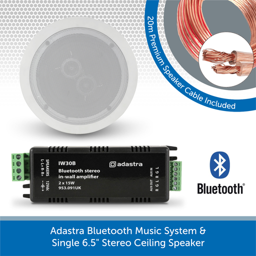 "Adastra Bluetooth Music System + Single 6.5"" Stereo Ceiling Speaker"