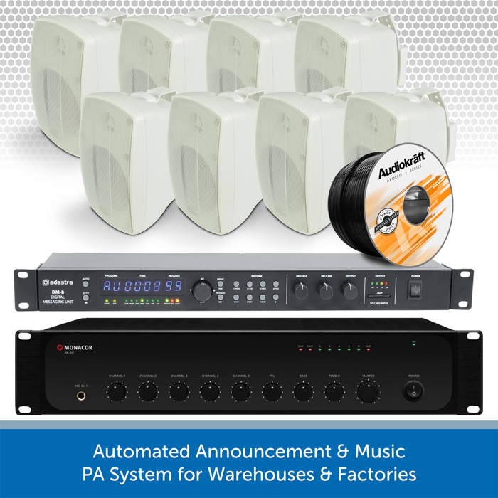 Automated Announcement & Music PA System for Warehouses & Factories