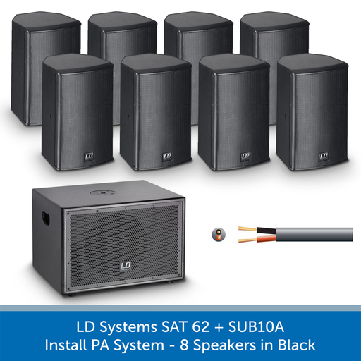 LD Systems SAT 62 + SUB10A Subwoofer and Speaker Install PA System