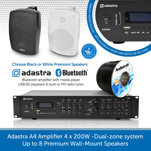 Adastra A4 Amplifier 4 x 200W with Premium Wall-Mount Speakers
