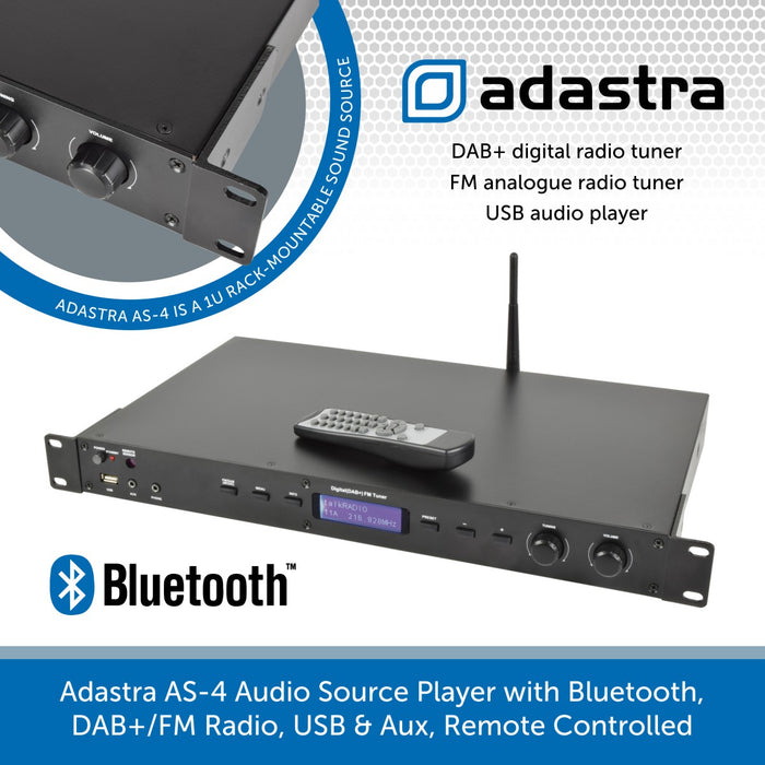Adastra AS-4 Audio Source Player with Bluetooth, DAB+/FM Radio, USB & Aux, Remote Controlled