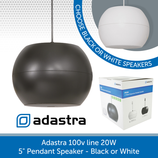"Adastra 100v line 5"" Pendant Speaker 20W Black or White"