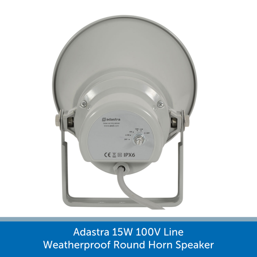 Showing the back of a Adastra 15W 100V Line Weatherproof Round Horn Speaker