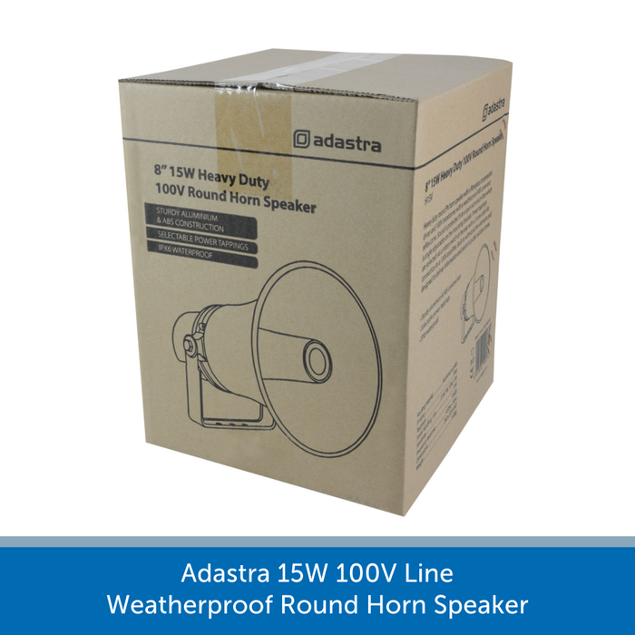 A box for a Adastra 15W 100V Line Weatherproof Round Horn Speaker