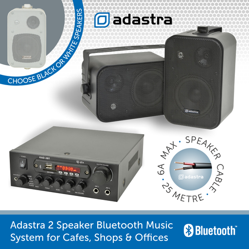 Adastra 2 Speaker Bluetooth Music System for Cafes, Shops & Offices