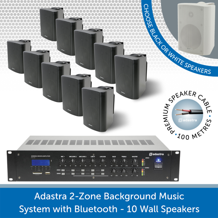 Adastra 2-Zone Background Music System with Bluetooth - 10 Black Wall Speakers
