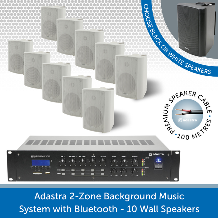 Adastra 2-Zone Background Music System with Bluetooth - 10 white Wall Speakers