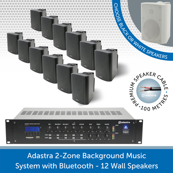 Adastra 2-Zone Background Music System with Bluetooth - 12 Black Wall Speakers