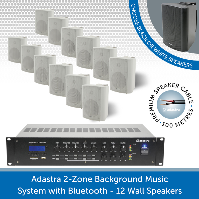 Adastra 2-Zone Background Music System with Bluetooth - 12 white Wall Speakers
