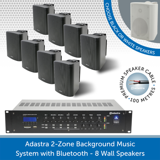 Adastra 2-Zone Background Music System with Bluetooth - 8 Black Wall Speakers