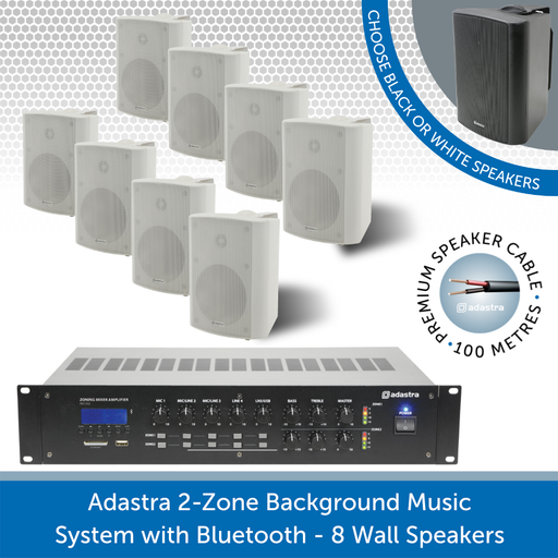 Adastra 2-Zone Background Music System with Bluetooth - 8 white Wall Speakers
