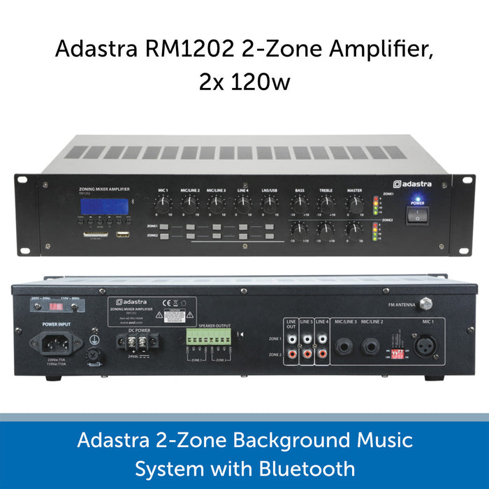 Adastra 2-Zone Background Music System with Bluetooth - RM1202 Amp Connections
