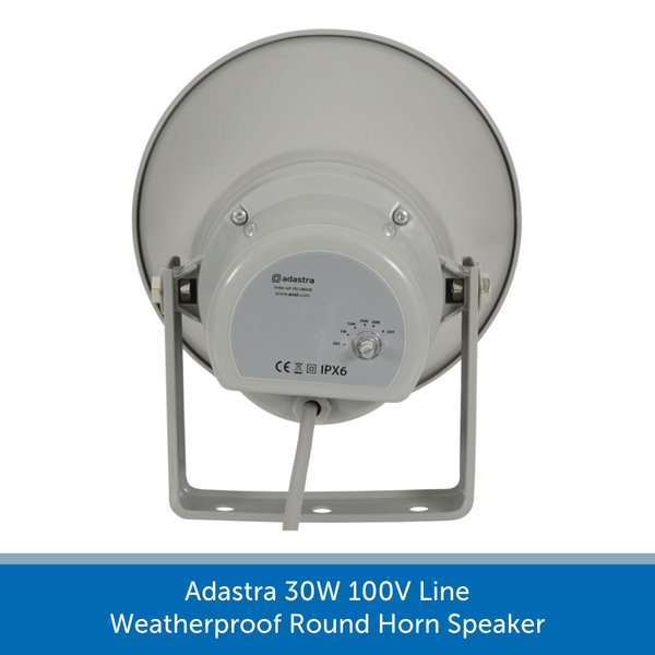 Showing the back of a Adastra 30W 100V Line Weatherproof Round Horn Speaker