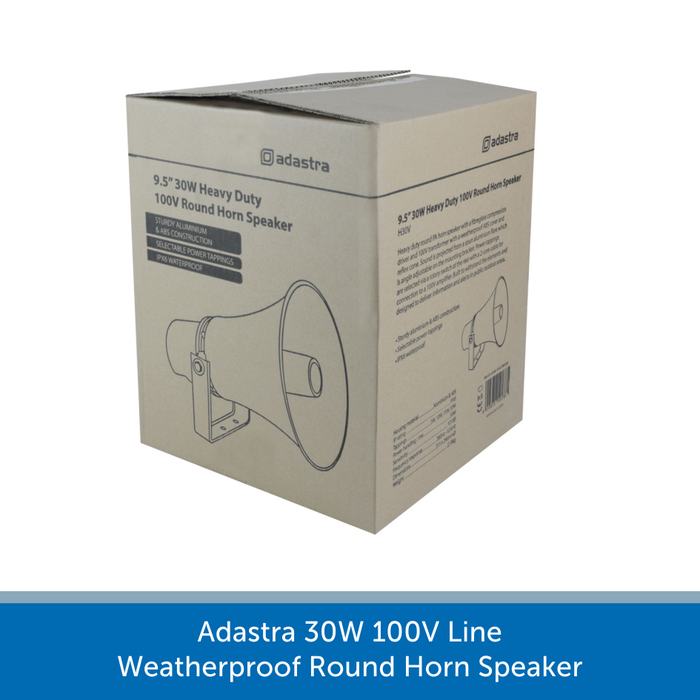 A box for a Adastra 30W 100V Line Weatherproof Round Horn Speaker