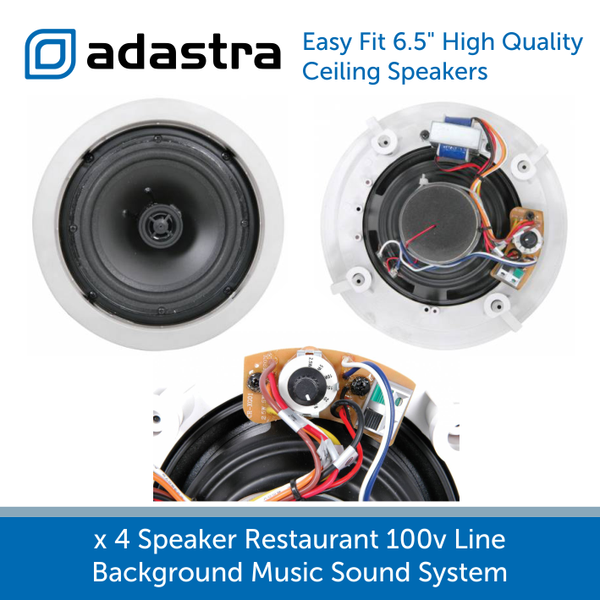 "Adastra easy fit 6.5"" high quality ceiling speakers with grill removed"