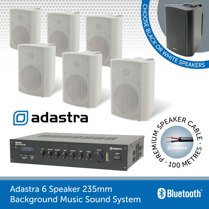 Adastra Background Music Sound System For Gyms And Leisure Centres 6 Wall Speakers 5 25 Black Or White