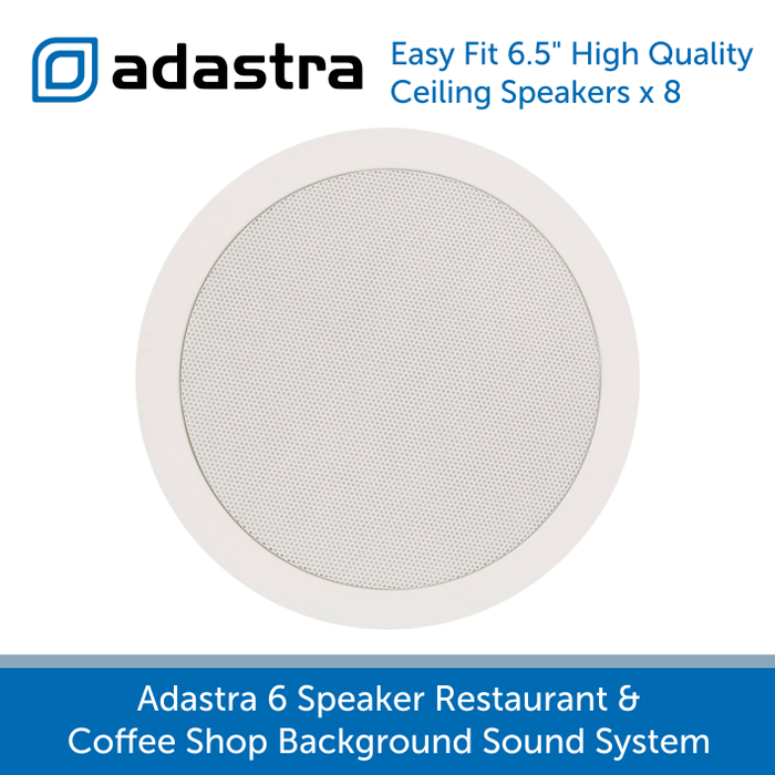 "Adastra 6 Speaker Background Music System for Offices and Call Centres - White Ceiling Speakers (6.5"")"
