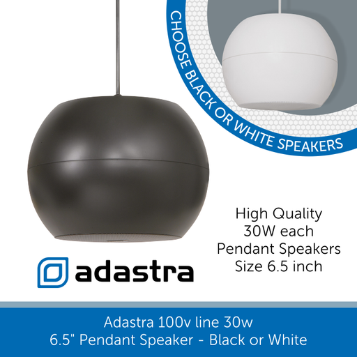 "Adastra Pendant Speaker 6.5"" 30w Black or White"