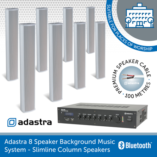 Adastra 8 Speaker Background Music System for Churches, Mosques, & Temples - Slimline Column Speakers