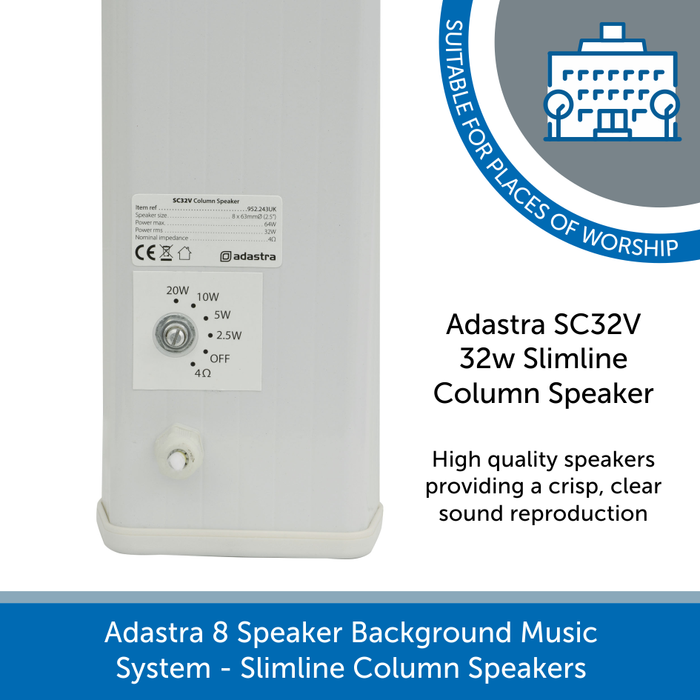 Adastra SC32V Slimline White column speakers with wattage tappings