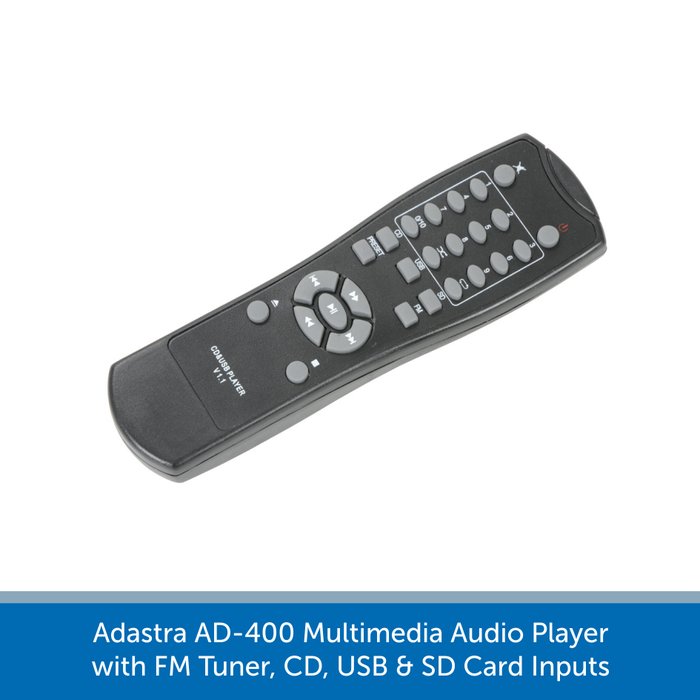 AD-400 is supplied with remote control and IR extender lead