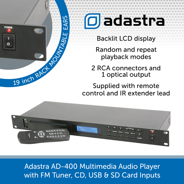 Adastra AD-400 Multimedia Audio Player with FM Tuner, CD, USB & SD Card Inputs