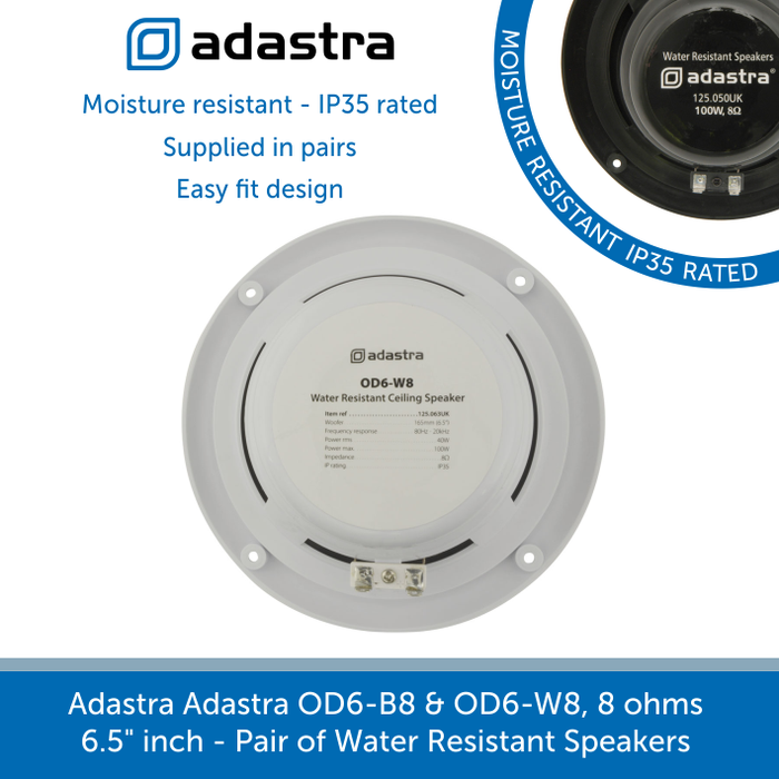 Showing the back of a Adastra Adastra OD6-B8 & OD6-W8, 8 ohms Water Resistant Speakers