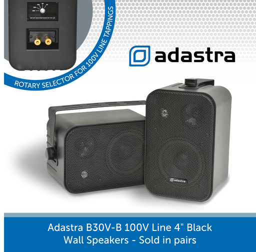 "Adastra B30V-B 100V Line 4"" Black Wall Speakers"