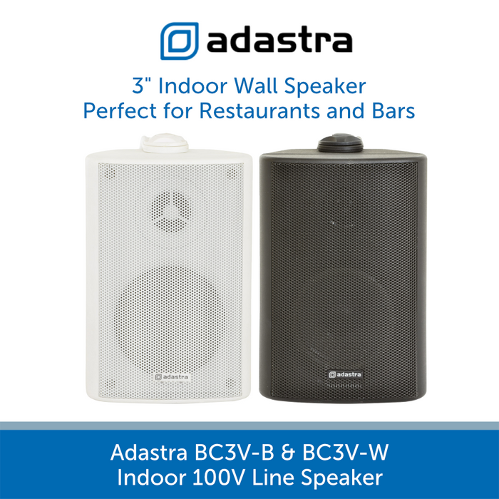 Adastra BC3V Compact Indoor Wall Speakers for Background Music and Voice, 100V Line, Black or White