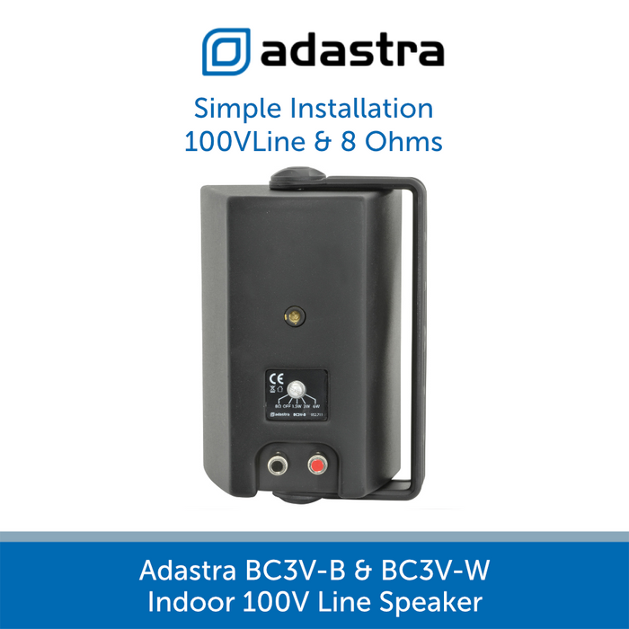 Rear Image of the Adastra BC3V Compact Indoor Wall Speakers, Available in Black or White