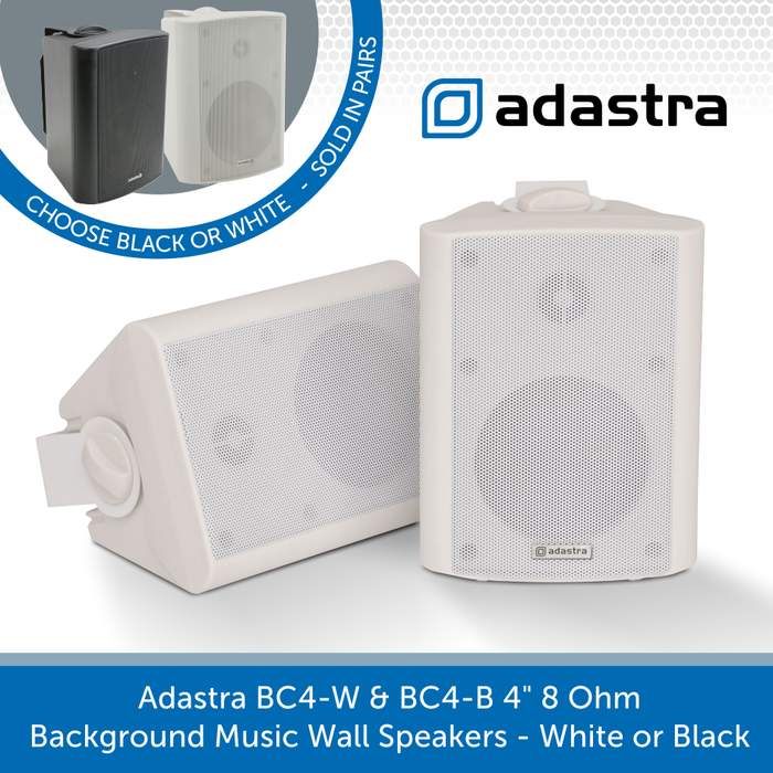 "Adastra BC4-W & BC4-B 4"" 8 Ohm Background Music Wall Speakers - White or Black"