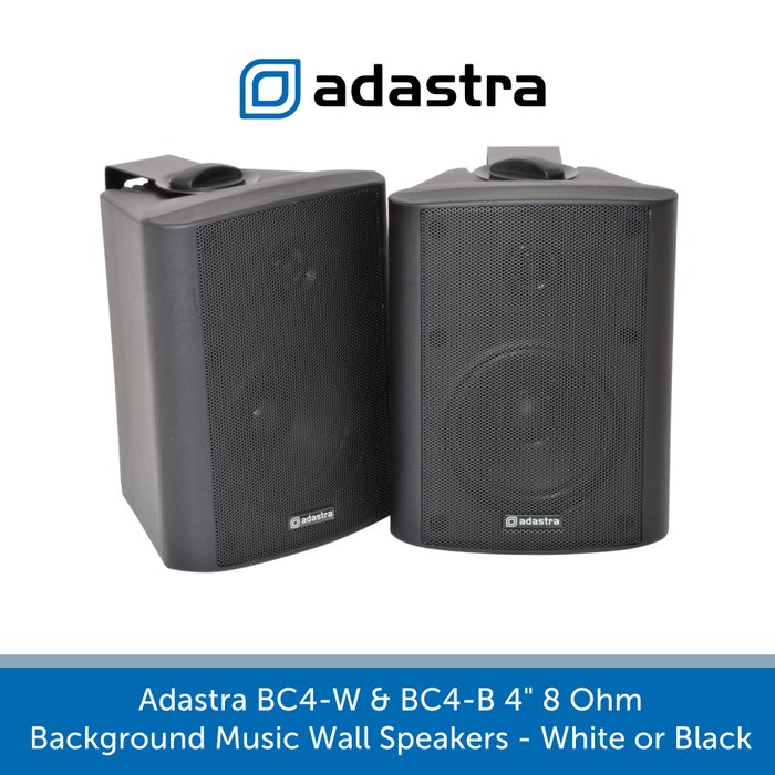 "Also available in black Adastra BC4-W & BC4-B 4"" 8 Ohm Background Music Wall Speakers"