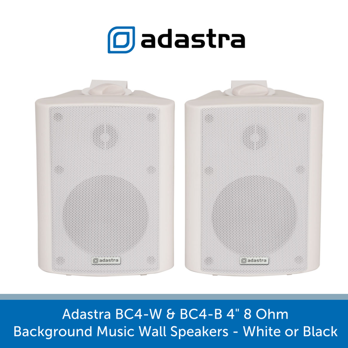 "Also available in White Adastra BC4-W & BC4-B 4"" 8 Ohm Background Music Wall Speakers - White or Black"