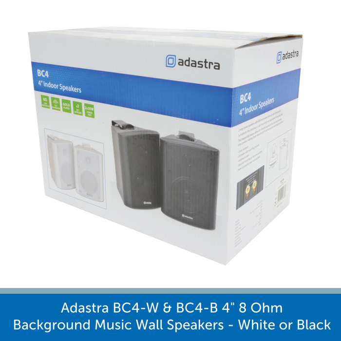 "A box for a Adastra BC4-W & BC4-B 4"" 8 Ohm Background Music Wall Speakers - White or Black"