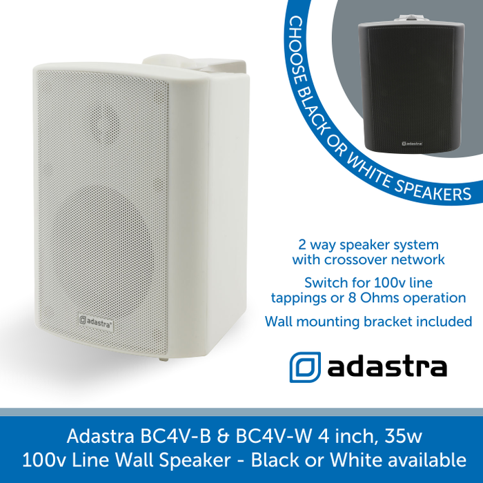 "Adastra BC4V Compact Indoor Wall Speakers, 4"", 100V Line, Available in Black or White"