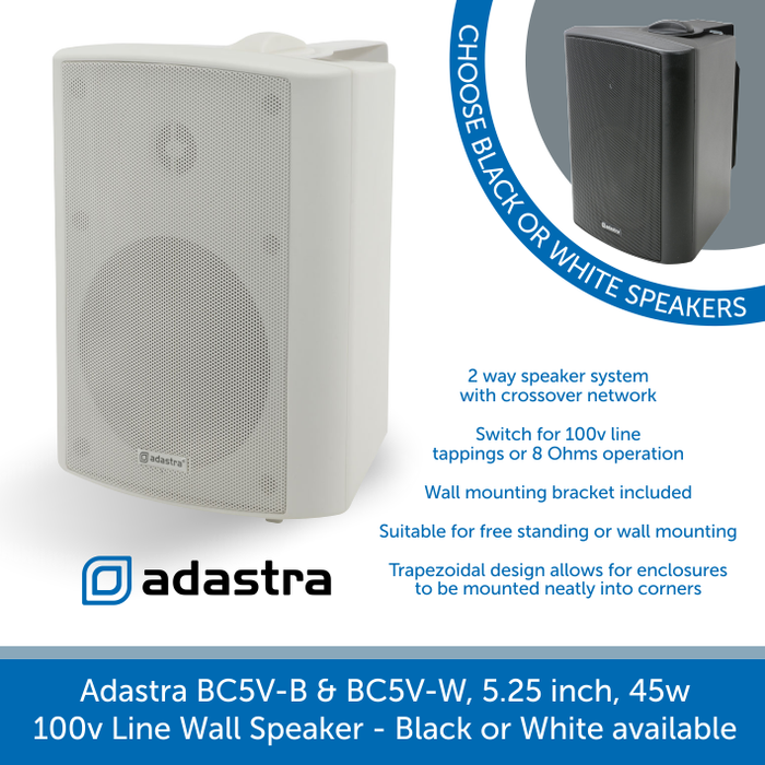 Adastra BC5V 2-Way Indoor Wall Speakers for Background Music and Voice, Available in Black or White