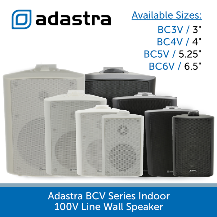 Adastra BCV Series Indoor Wall Speakers for Background Music and Voice, 100V Line, Black or White