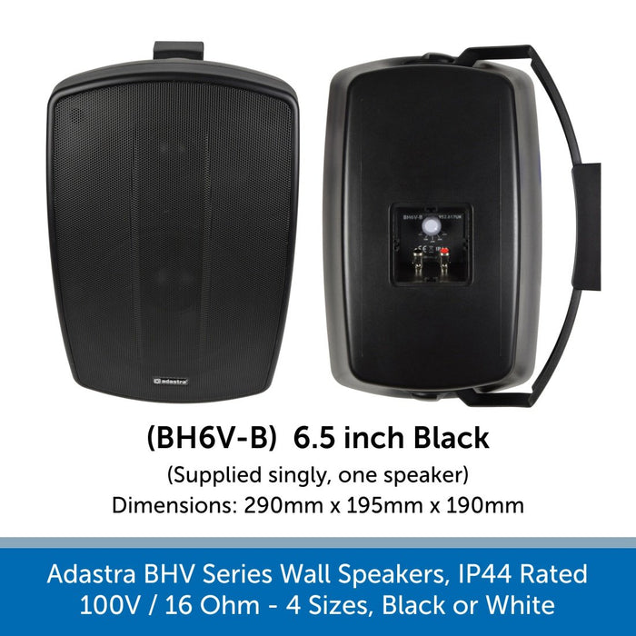 Adastra BHV Series Wall Speakers - IP44 Weatherproof, 100V or 16 Ohm, Choose Black or White